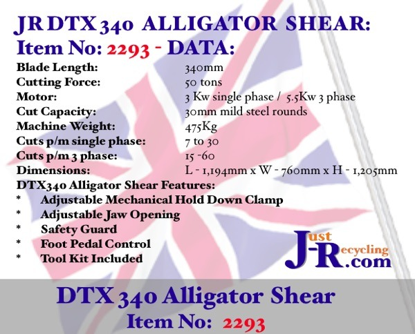 JR DTX 120 Light Duty Alligator Shear