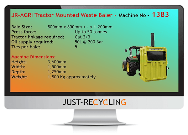 Tractor Mounted Vertical Waste Baler
